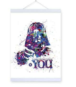 Original Watercolor Star War Vintage Movie A4 Poster Print Darth Vader Picture Home Wall Art