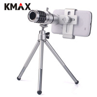 KMAX Universal 12X Zoom Telephoto Lens Telescope Metal Clip Tripod For Samsung IPhone Xiaomi Huawei Tablets