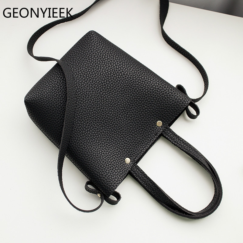 GEONYIEEK Fashion Litchi Grain PU Leather Small Women Bucket Handbag Female Mobile Shoulder Messenger Bag Bolsa Feminina Sac