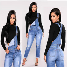 2019 Spring Women Jumpsuits Fashion New hole Ripped elastic cowboy Denim Overalls High Waist Jeans Plus Size Skinny Pants A030