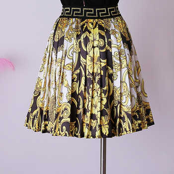 Summer new fashion vintage high waist court style printed pleated skirt Wholesale dropshipping skirt are both welcomed - DISCOUNT ITEM  55% OFF All Category