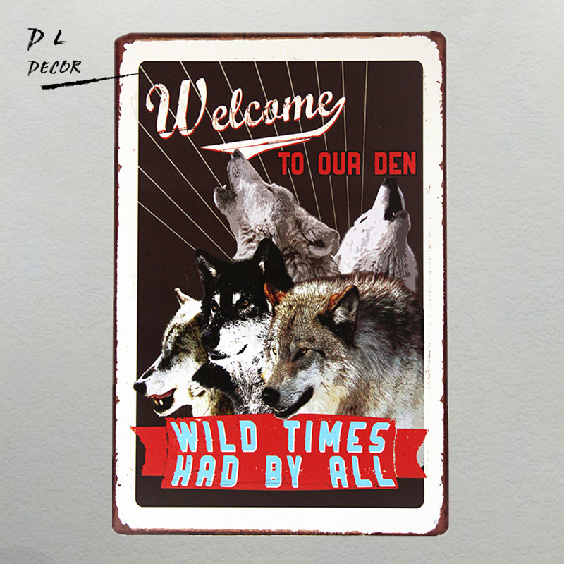 DL-WILD TIME WOLF TIN SIGN Retro Wall ART Bar Poster Vintage Craft Gift Decoration ...