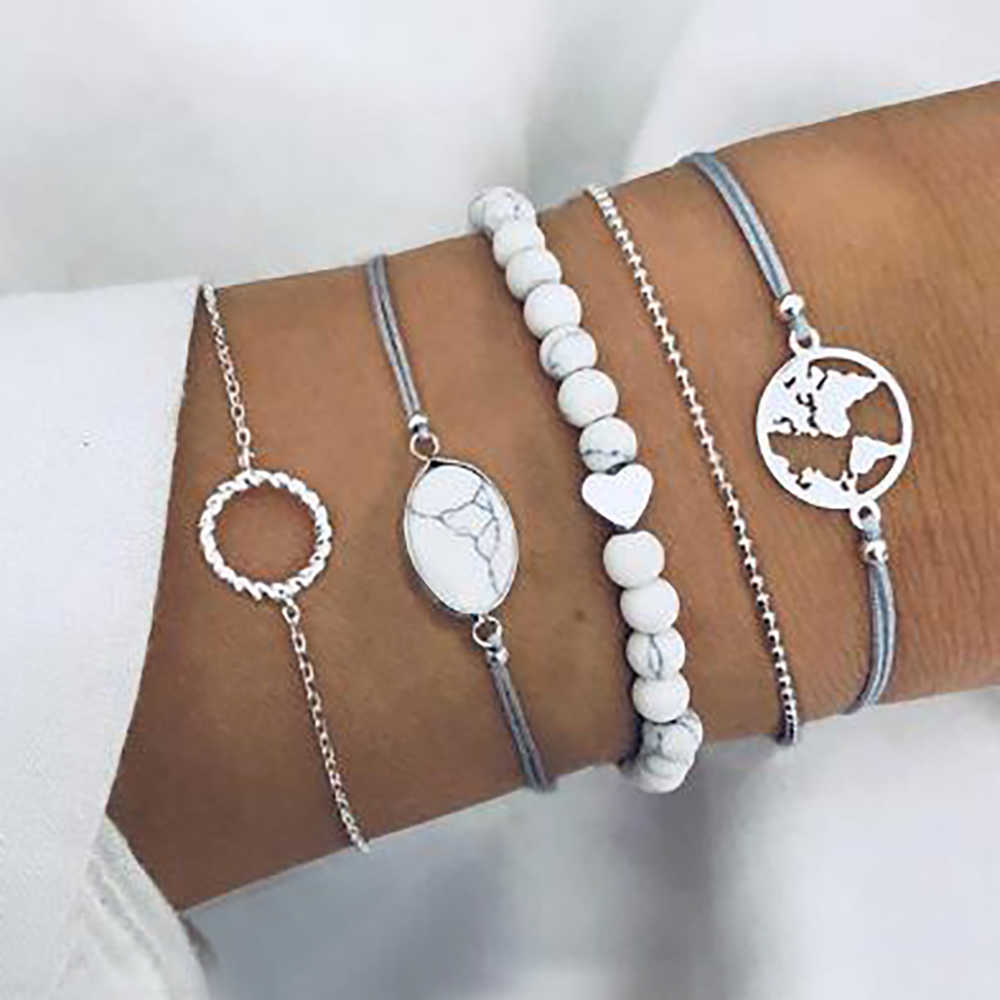 FAMSHIN 5 Pcs/Set Bohemian White Beads Bracelets Sets For Women Fashion Rope Chain Ocean Map Round Bracelets Bangles Jewelry