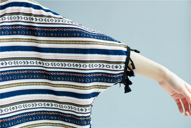 Batwing Sleeve Tassel Cotton & Linen Striped T-Shirts Summer Plus Size Casual Loose Tops Womens Lagenlook Baggy T-Shirt Tee 4