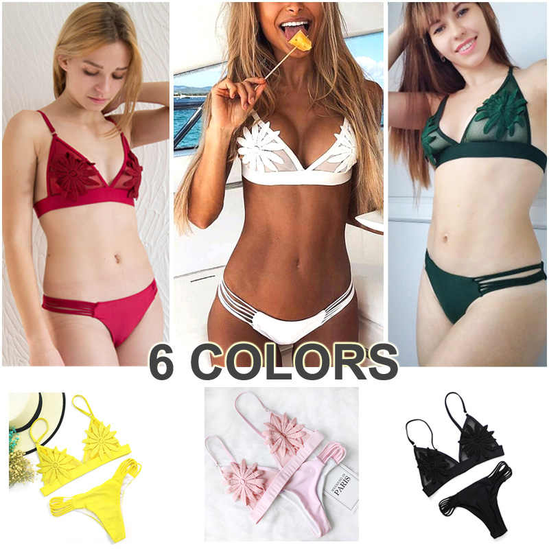 a6fbac57e26 ... PLAVKY 2019 Sexy White Mesh Embroidered Flower Strappy Biquini Micro Bathing  Suit Swimsuit Thong Swimwear Women ...