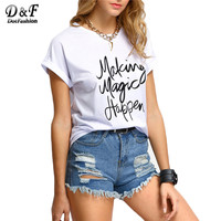 Kadın Yeni Varış Vogue Marka Rahat Sıcak Satış Kadınlar Tee Yüksek Sokak Kore Tarzı Gri Kısa Kollu Mektubu Baskılı T-Shirt