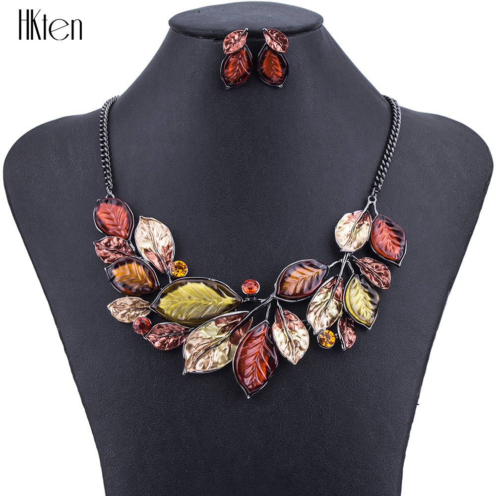 jewelry unique necklace sets colors hight resin leaf quality accessories gifts