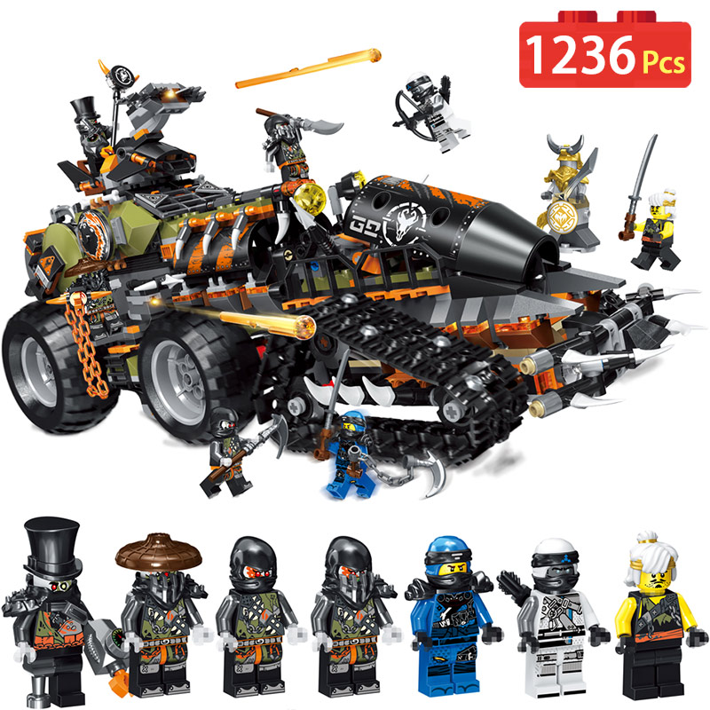 New Toys 1236PCS Ninjagoed Series The LegoINGlys 70654 Ninjagoes Hunted Car Building Blocks Bricks Kids Toys As Christmas Gift
