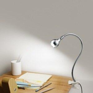 Image 5 - حامل قصاصة USB الطاقة Led لمبة مكتب مرنة الجدول مصباح أباجورة ضوء الكتاب لغرفة النوم غرفة المعيشة ديكور المنزل