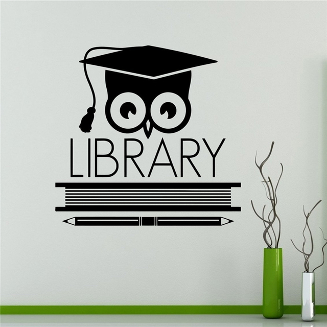Books Library Owl Wall Vinyl Decal Education School Wall Sticker - Custom vinyl wall decals for classrooms