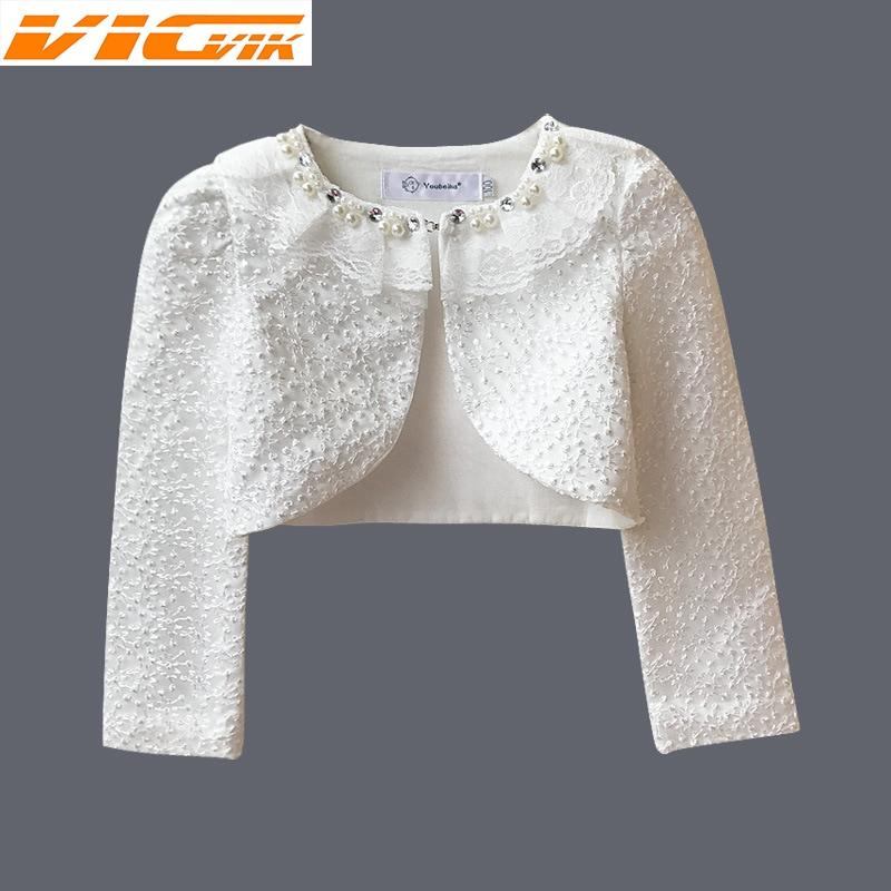 Кружевной кардиган для девочек 3-9 лет, куртка с длинным рукавом для девочек, свадебное платье, вечерняя одежда для девочек белого и розового ...