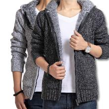Men's Sweaters 2017 Brand New Fashion Men Pullovers England Style Cardigan Winter Thicken Hooded Knitwear Clothing L-XXL