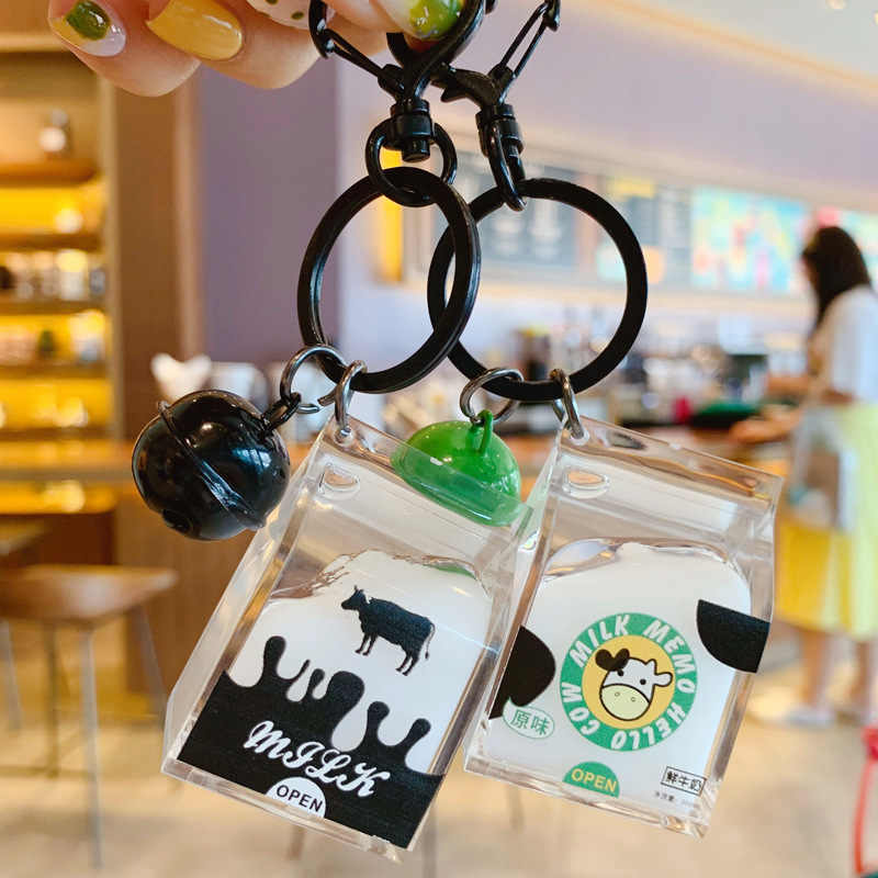 Cute Creative Mini Milk Box Keychain Coconut tea Beverage Bubble Tea Acrylic Moving Liquid oil Drop decompression Jewelry gift