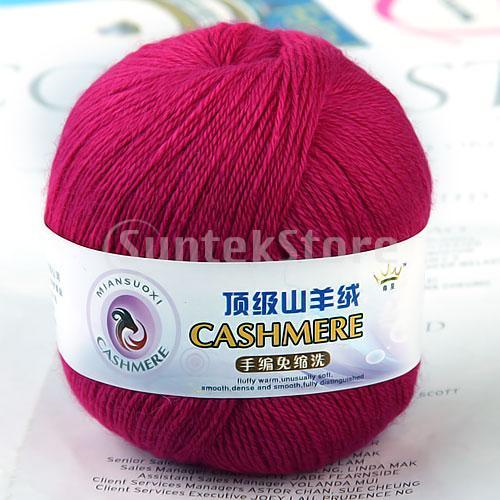 1 Skein Ball Cashmere Knitting Weaving Wool Yarn - Shocking Pink