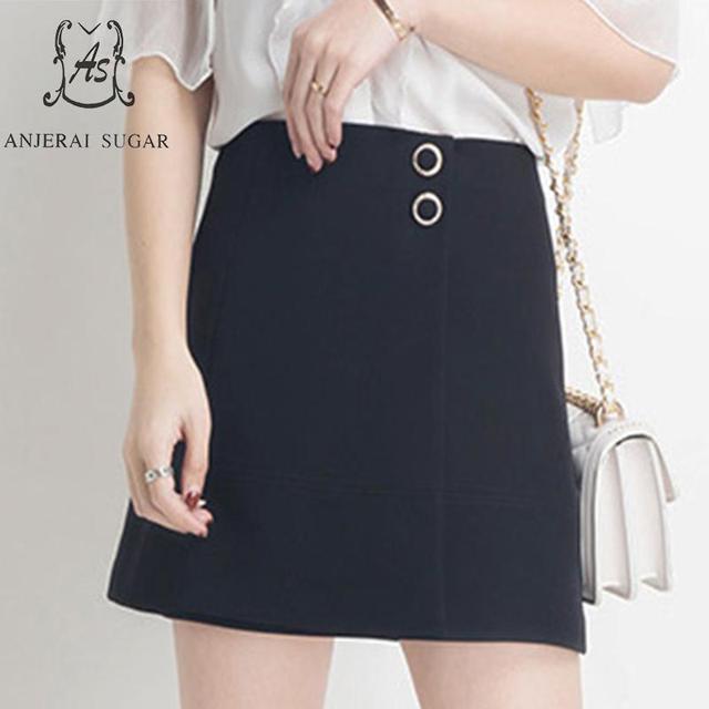 Plus size skirts women High Waist Vestidos Summer korean sexy Button Splicing Asymmetric Safety trousers A line short mini skirt