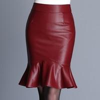 Autumn Winter Fashion 2017 High Waist Trumpet Skirts Womens PU Faux Leather Faldas Mujer Bodycon