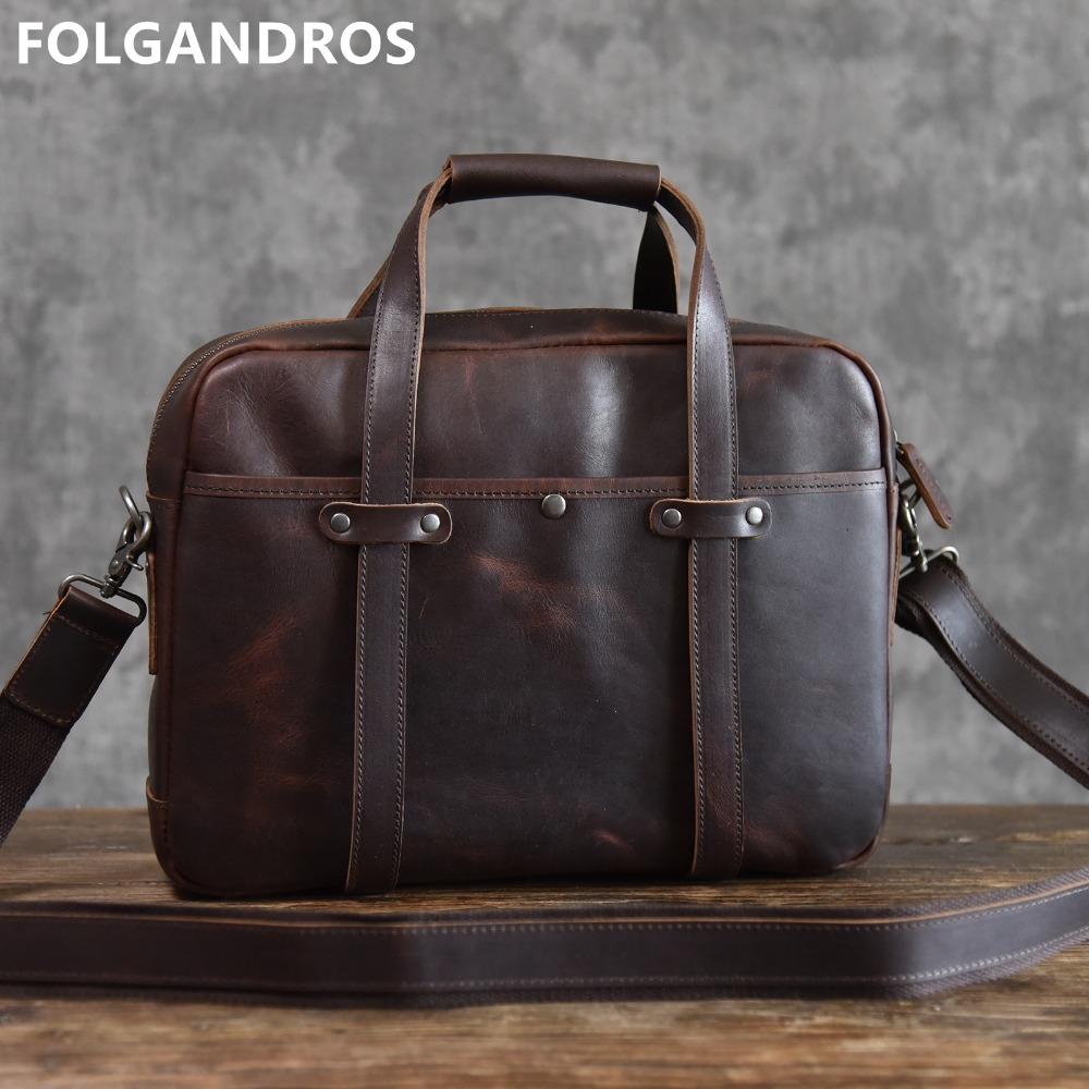 Briefcases Laptop Computer Shoulder-Bag Handmade Vintage Men's 14inch Brand Classic Bolsa