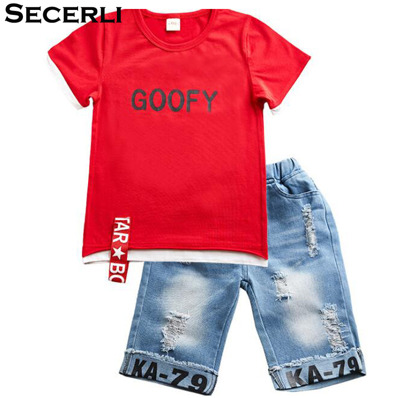 2018 Summer Children Clothing Boys Set 3 4 6 8 9 10 12 Years Short Sleeve Ribbon Shirt Ripped Jeans Shorts Teenage Kids Boy Set ujar brand dot patchwork short sleeve shirt boys shorts set childrens summer sets u52a705