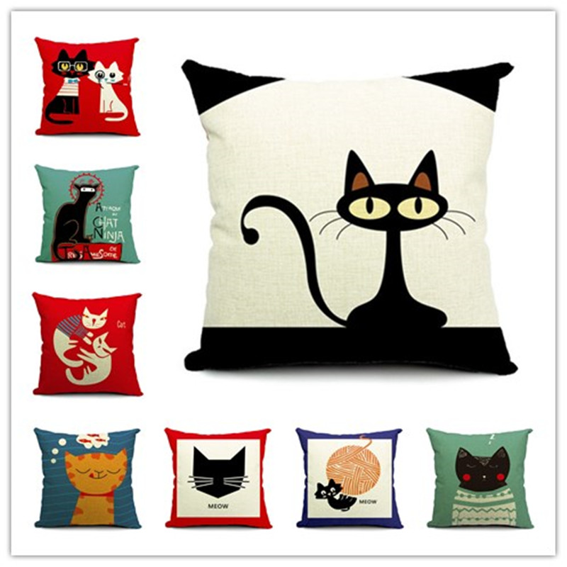 2015 cat style fashion new cushion cat print pillow bed - Fundas para cojines sofa ...