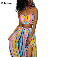 Summer Women 2 Piece Set Strapless Crop Top and Long Split Skirt Colorful Striped Skirt Set Beach Style Sexy Party Club Outfit