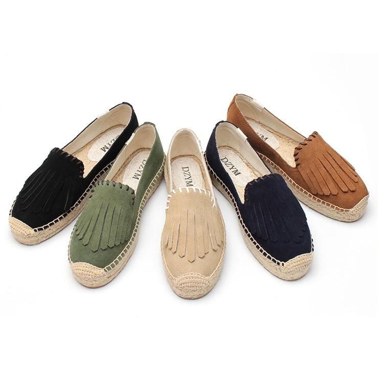 New Genuine Leather Women Shoes  Cafe  Suede Platform Espadrilles  Fashion Autumn  Flat Platform Shoes For Woman