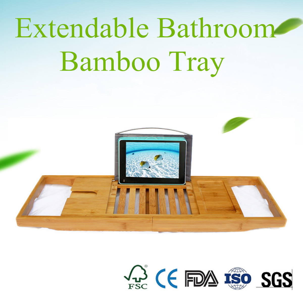 70 105cm Varnish Extendable Bathroom Bamboo Bath Caddy Wine Glass ...