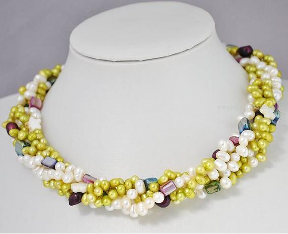 Luck Pearl Jewellery,Multicolor 5Rows Genuine Freshwater Pearl Shell Necklace,New Fashion Women Chirstmas Gift NecklaceLuck Pearl Jewellery,Multicolor 5Rows Genuine Freshwater Pearl Shell Necklace,New Fashion Women Chirstmas Gift Necklace
