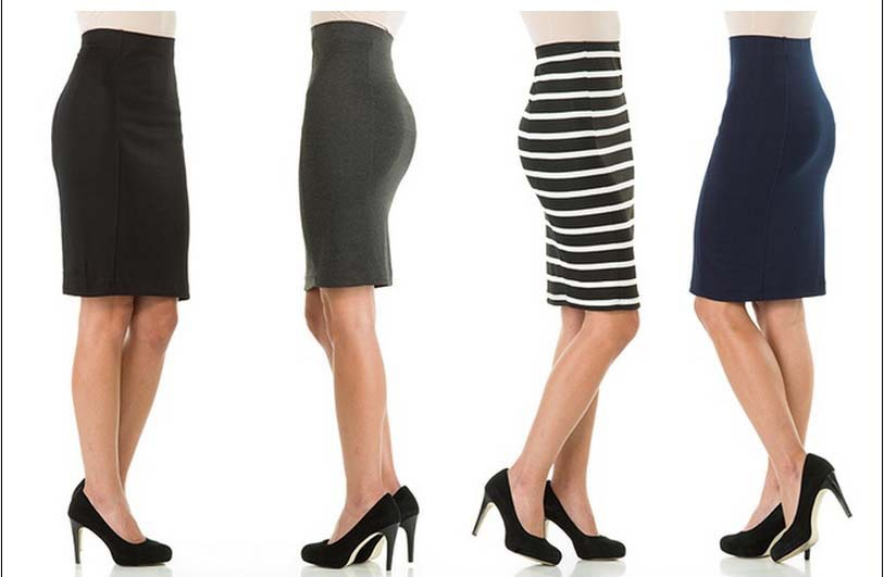 Women Elegant Black and White Striped Pencil Skirt OL Wear Work ...