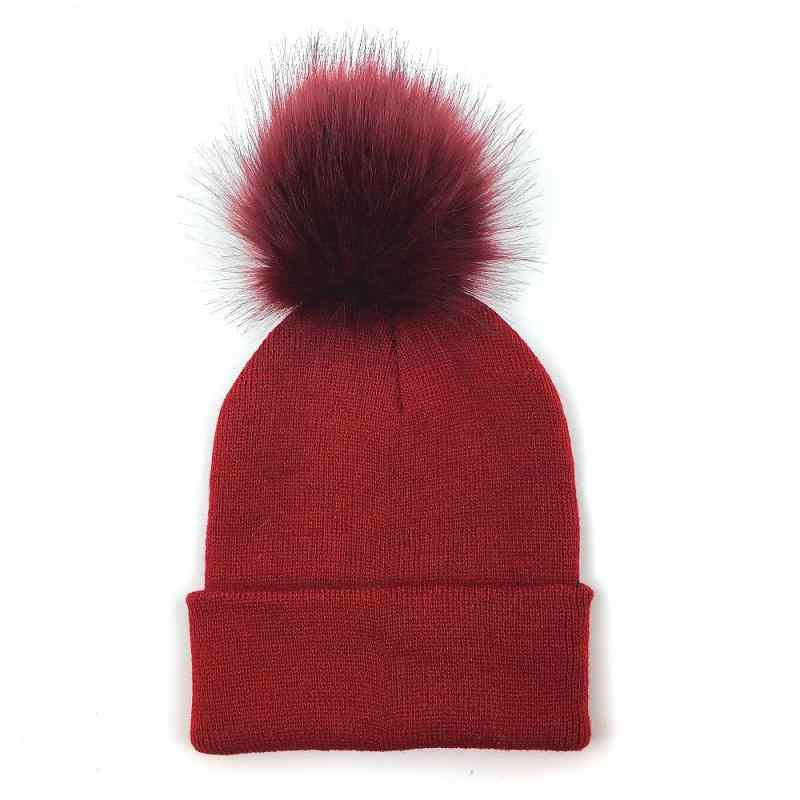 2018 Knitted Beanies Women And Child Winter Beanie Hat Female Warm Cap Cotton Casual Faux Fur Solid Beanie Hat Bonnet Aesthetic Appearance Girl's Accessories