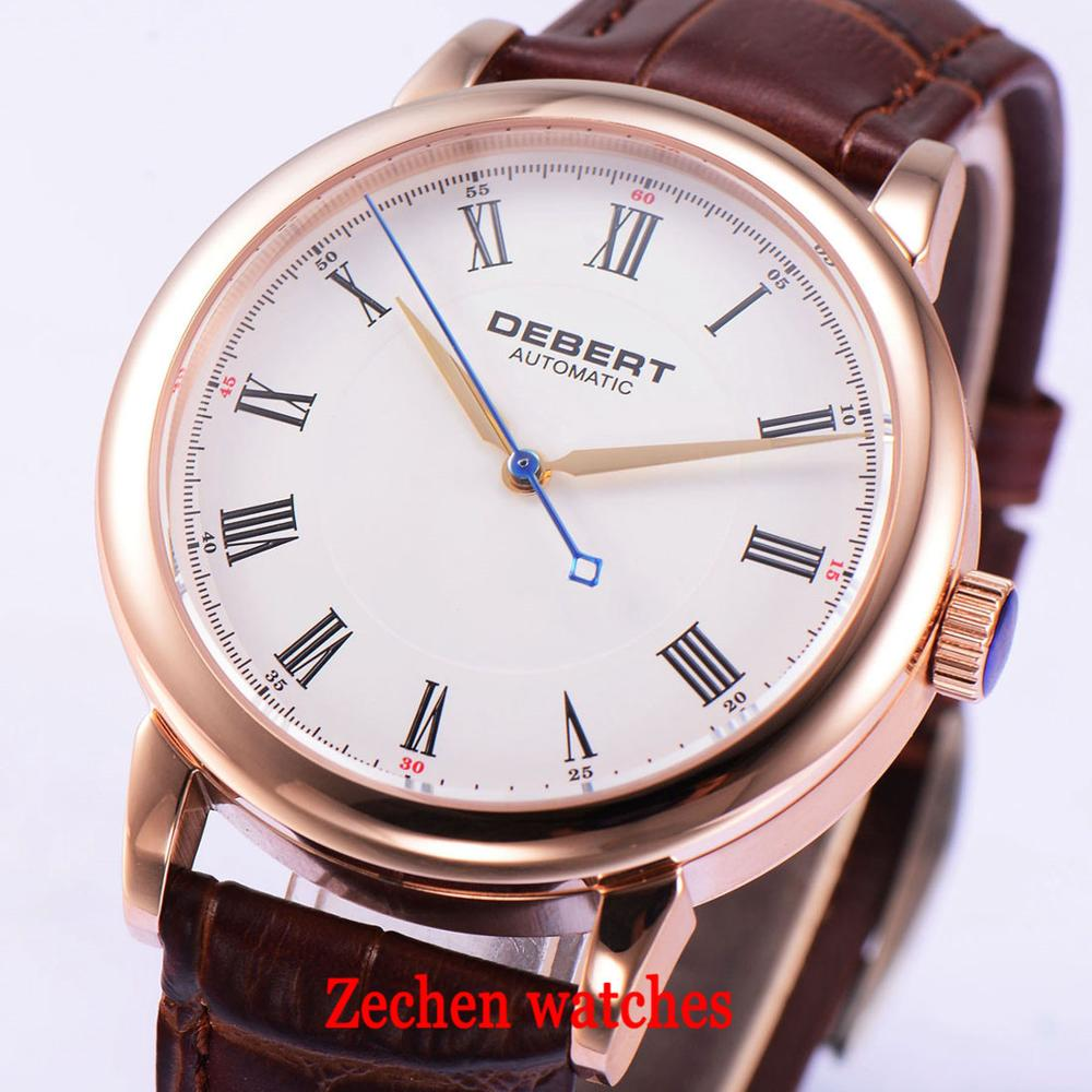 Debert 40mm Sapphire glass 316L stainless steel gold case sapphire glass Seagull 1731 Automatic Mechanical mens Wristwatch цена и фото