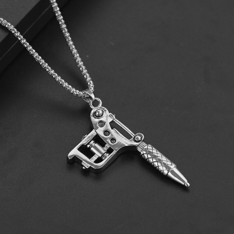Silver color mini cute tattoo machine necklace punk style pendant silver color mini cute tattoo machine necklace punk style pendant necklace for women men hip hop rock jewelry gifts fashion in pendant necklaces from aloadofball Gallery