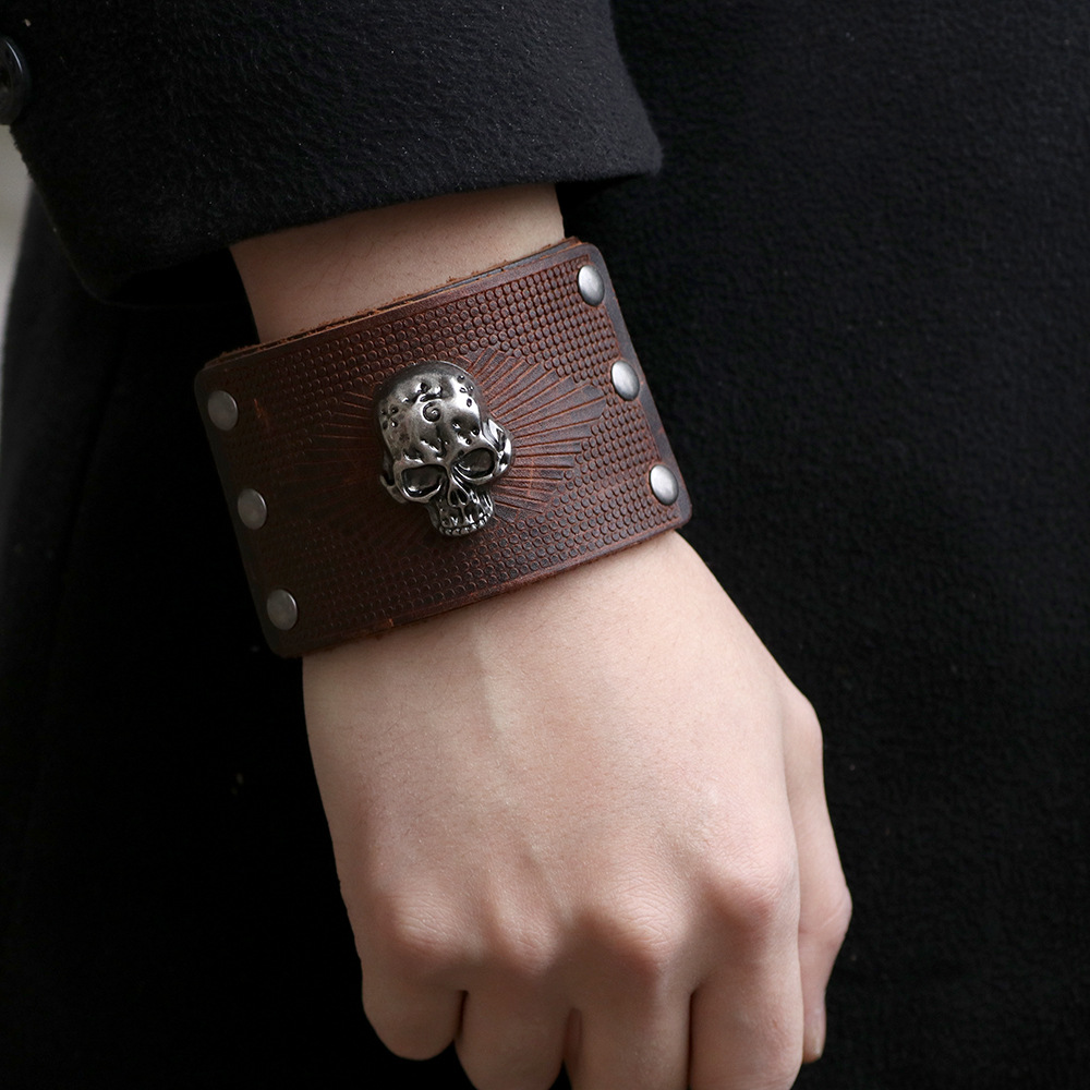Bracelet en cuir véritable Viking crâne 3