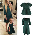 Fashion Soild Women Mother and Daughter Dresses Family Matching Clothes Party Dress