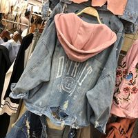 Autumn Casual Women Denim Jacket Hooded Pink White Gray Embroidered Frayed BF Jean Coat Loose Outwear