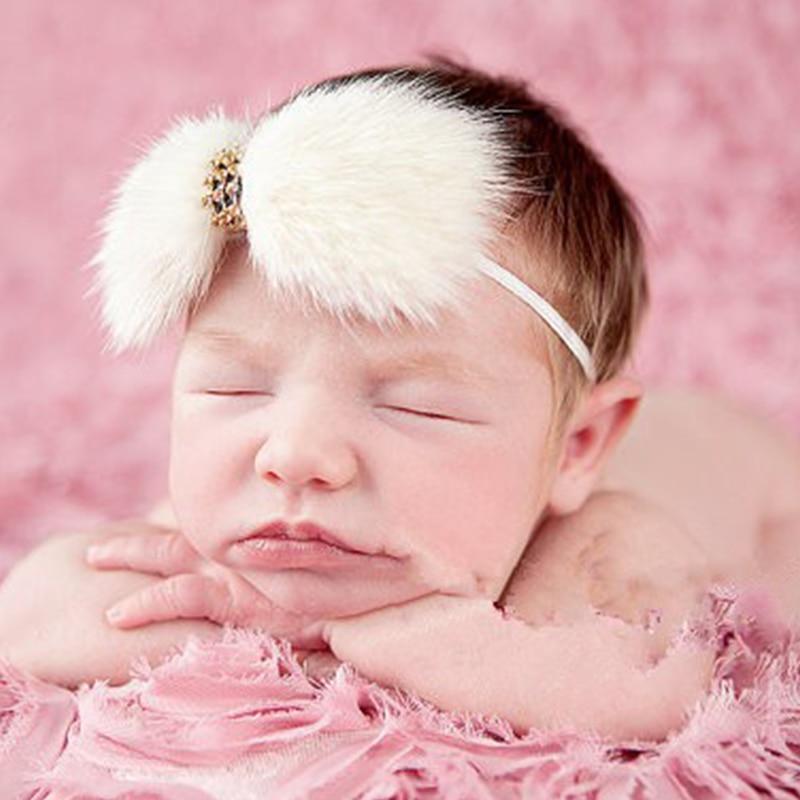 3st nyfödda Crystal Stone pannband Stora rosett kanin päls pannband - Kläder tillbehör