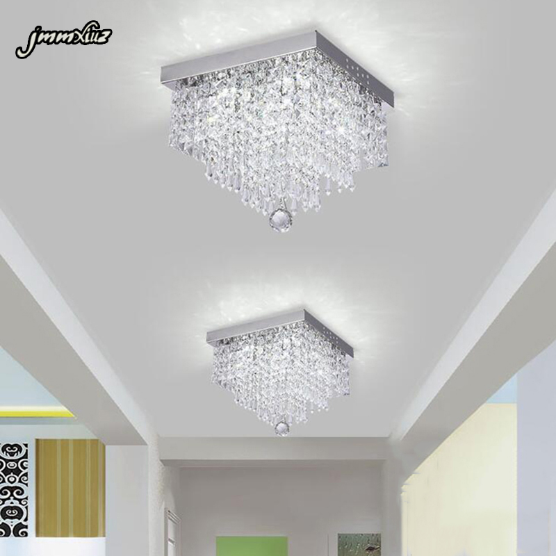 Jmmxiuz Square Minimalist Aisle Living Room LED Ceiling Crystal Lamp Balcony Front Hallway Aisle Creative LED Ceiling Lamp
