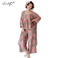 Women Pajamas Sleepwear Three piece Sets Cotton Lounge Wear Floral Robe+Cami Top + Pants Pajamas Sets Women Leisure Homewear