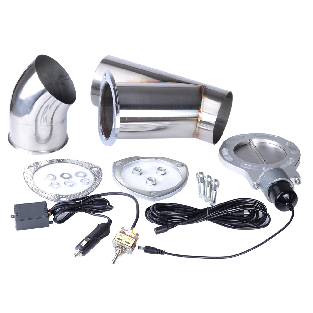 4 Inch System Remote Exhaust Catback Downpipe Cutout Cut Valve Out With Manual switch Car Complete Installations Exhaust Cut out espeeder 3 0 inch system remote exhaust catback downpipe cutout electic cut valve out with manual switch car installations