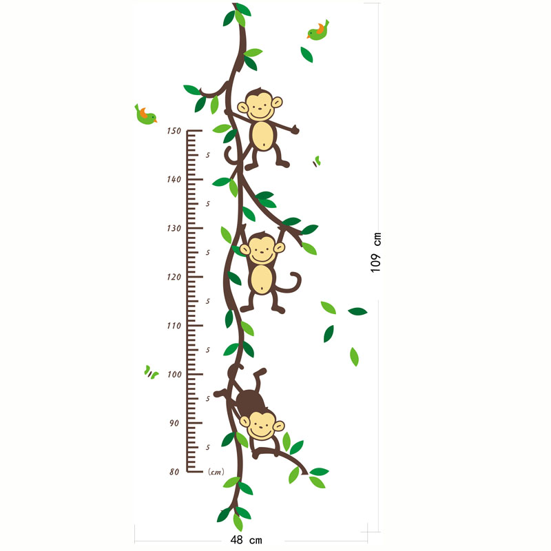 Monkey Height measure Wall Stickers For Children Room Decoration - Heminredning - Foto 3