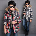 Fur Hooded Jackets For Boys Winter Parkas Camouflage Cotton Padded Coats 2016 Brand Letter Boys Outerwear Tops 4 6 8 10 12 Years