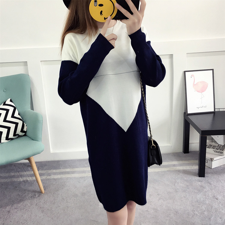 Maternity Wear Autumn And Winter New Fashion Breastfeeding Clothes Tide Mother Color Matching Knit Dress Postpartum Out Nursing цена 2017