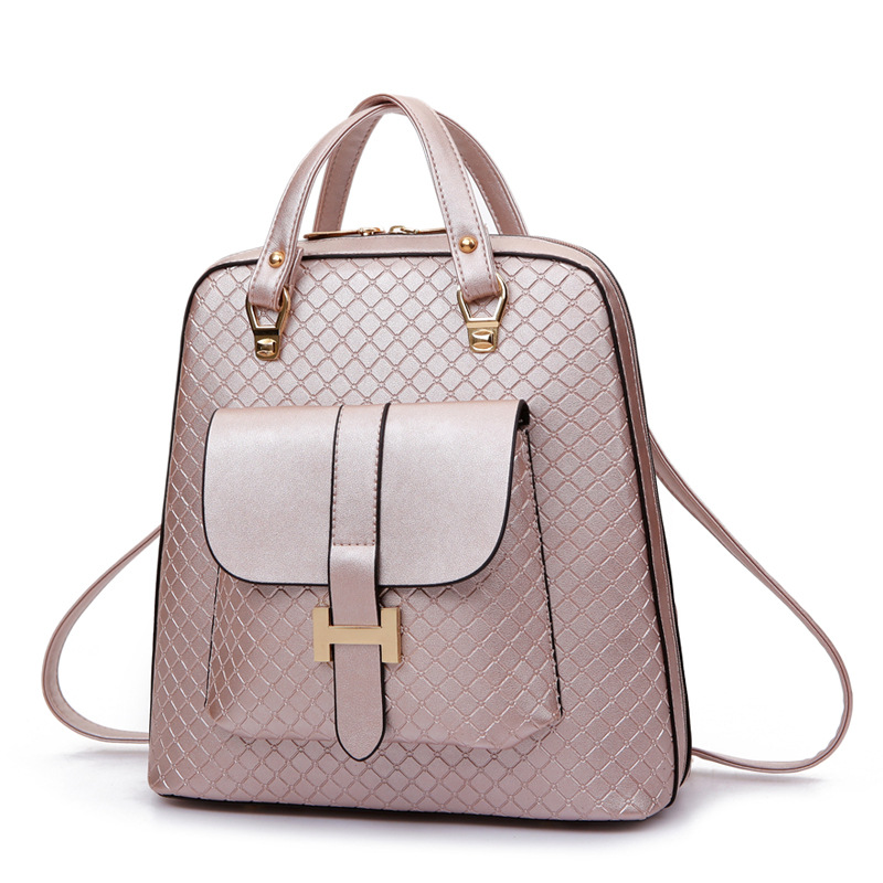 New fashion faux leather backpack woman backpacks for women for the traveling lady tote bags PU leather champagne girl daily bag women backpack fashion pvc faux leather turtle backpack leather bag women traveling antitheft backpack black white free shipping