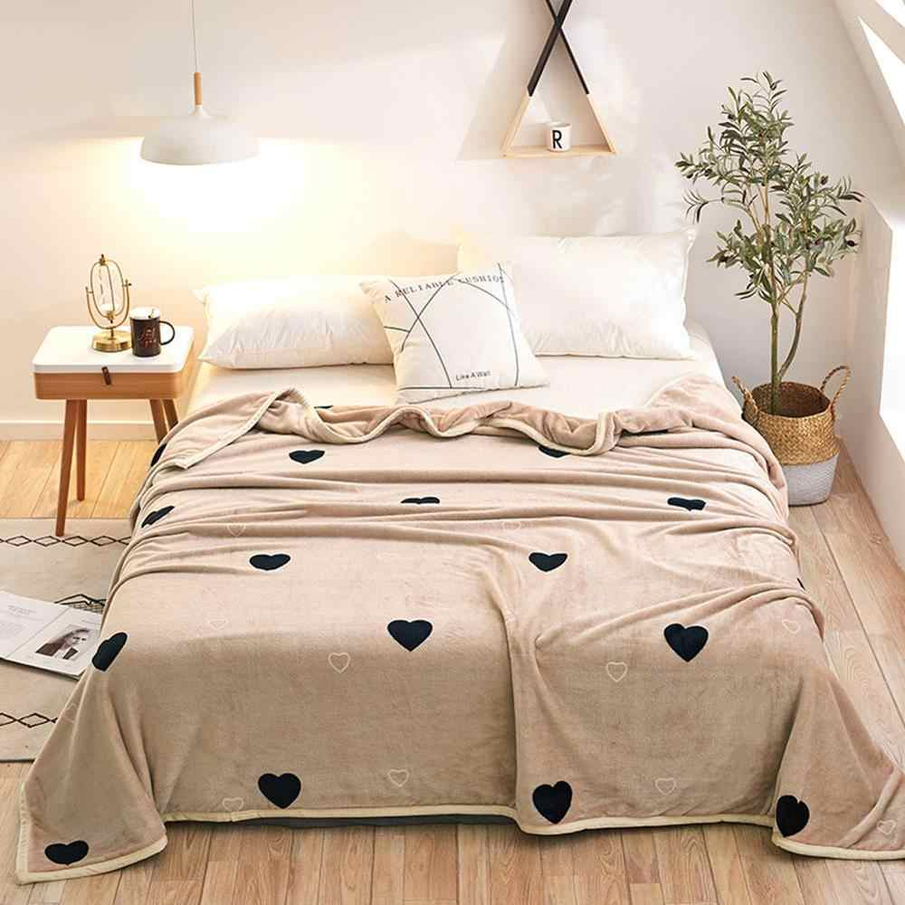 2019 Black Hearts Light Tan Soft Print Double-side Blankets Throws Flannel Fleece Microfiber Plaids Bedsheet Polyester
