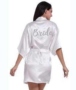 Image 2 - dark pink robe silver letter kimono personalised satin pajamas wedding robe bridesmaid sister mother of the bride robes