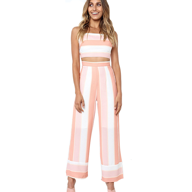 24e9f53c2a9a Stripe Jumpsuit Women Casual Two Piece Jumpsuit Sexy Back Lace Up Crop Top  and Wide Leg Pants Summer Romper Holiday Outfit S-XL