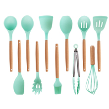 11pcs Food Grade Silicone Cooking Utensils Set Kitchen Cooking Tools Set With Natural Wooden Handle Nonstick Cookware
