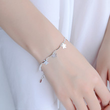 TJP Cute Butterfly Bracelets For Women Jewelry Top Quality 925 Silver Anklets Girl Lady Engagement Accessories Bijou