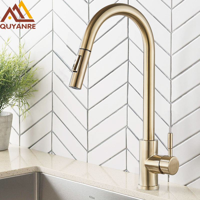 HTB1uXBabmSD3KVjSZFKq6z10VXa6 Quyanre Brushed Gold Kitchen Faucet Pull Out Kitchen Sink Water Tap Single Handle Mixer Tap 360 Rotation Kitchen Shower Faucet