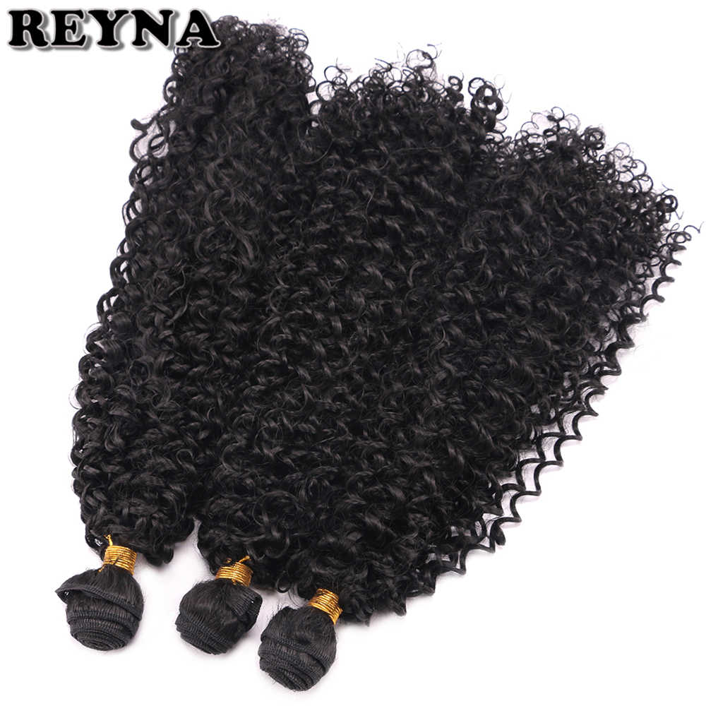 Afro kinky Curly 3pcs/lot Synthetic Hair Bundles Black color Heat Resistant Fiber Hair Weaving