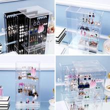 цена на Transparent dustproof acrylic jewelry storage box earring display rack